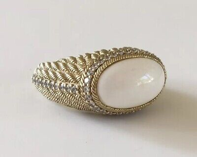 Judith Ripka Gold Over Sterling Silver White Stone CZ Ring Size 11
