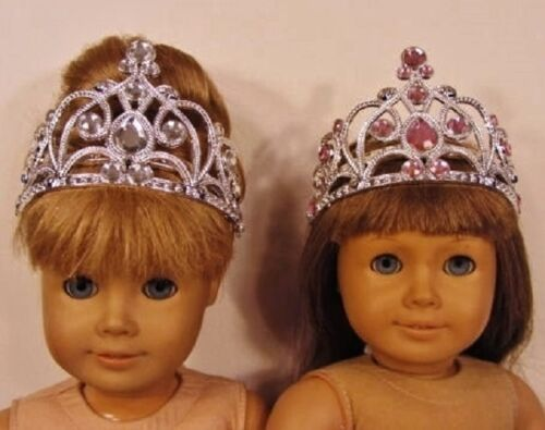 Lot of 2 Doll CROWN TIARA PRINCESS SILVER PINK for American Girl / 18 Inch Dolls