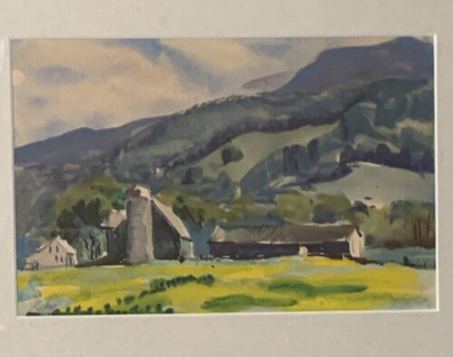 ORIGINAL Watercolor PAINTING Landscape Country Farm Signed - $45.00