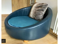 HEALS Leather & Velvet Chair - Designers Guild Fabric - Armchair Lounge Sofa / Dog bed