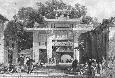 China, XIAMEN AMOY GREAT ENTRANCE GATE ~ 1842 Architecture Art Print Engraving