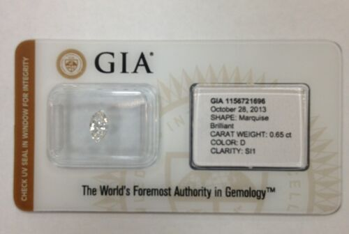 0.65 Ct Marquise Brilliant SI1 Clarity D Color GIA Certified Diamond