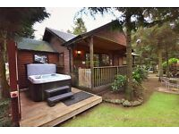 Family log cabin private hot tub Pet friendly. Sleeps 4 min 3 nights from £133 per night
