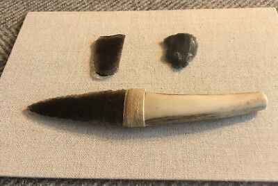 Authentic Reproduction Prehistoric Obsidian Knife w/COA