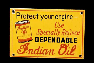 VINTAGE INDIAN OIL PORCELAIN SIGN CAR TRUCK OIL GAS GASOLINE