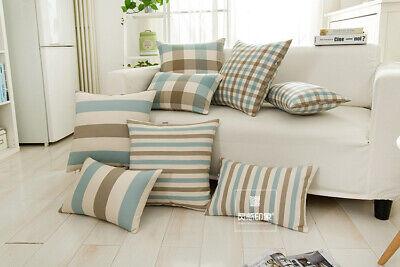Blue Coffee Checks Stripe Cotton Cushion Cover Throw Pillow Case Home Decor (Cushion Blue Stripe)
