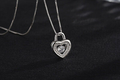 Sterling Silver Floating Dancing Zirconia Stone Heart Pendant Necklace Chain A8 Gemstone Heart Necklace