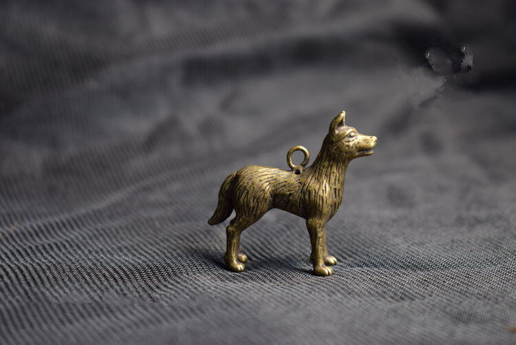 Chinese Old Collectibles pure brass lucky Zodiac tiger pendant
