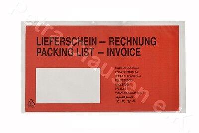 250 Lieferscheintaschen DIN lang (Lieferschein/Rechnung)