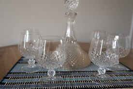 Decanter and 6 cut-glass Brandy glasses