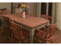 Pine table and six dining chairs