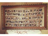 Gold frame wedding accessories Polaroid table plan