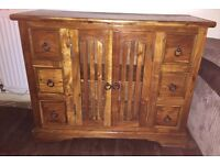 Sheesham solid wooden display unit / hifi tv cabinet. Good condition