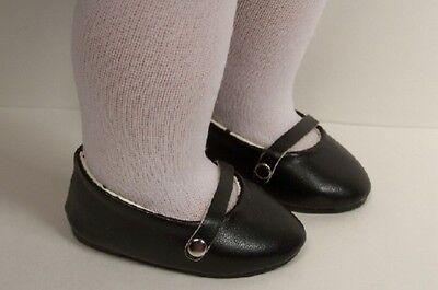 BLACK Ballet Ballerina Dance Flats Doll Shoes For 18