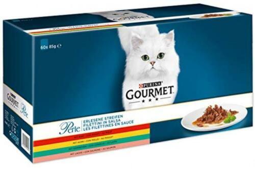 Purina GOURMET Perle Erlesene Streifen: Katzennassfutter mit Huhn, Rind,...