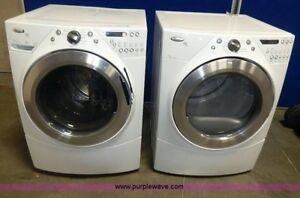 Washer dryer pair white abd silver front load