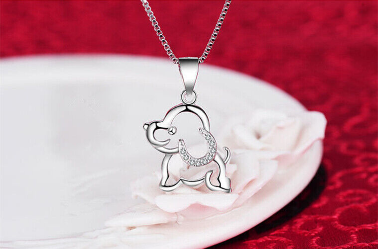 Jewellery - Dog Doggy Pendant 925 Sterling Silver Chain Necklace Womens Girls Jewellery Gift