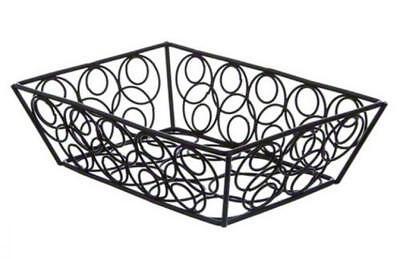 American Metalcraft Rectangular Basket - American Metalcraft EBB59B Steel Rectangular Wire Loop-D-Loop Bread Basket,...