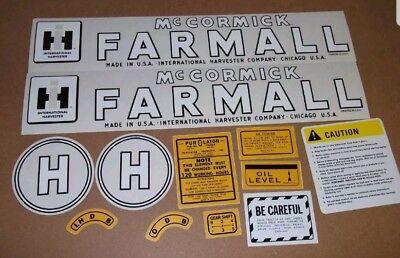 Farmall Model H Decals. Complete Set 1945-1952.