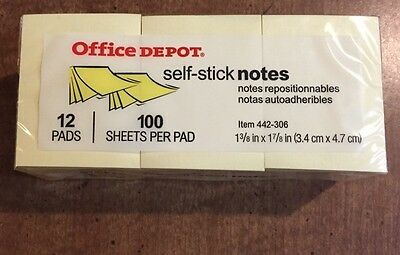 Office Depot 1200 Sheets Self-stick 1 38 X 1 78 Yellow Sticky Notes 442-306