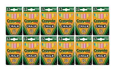 Assorted Crayola Chalk Colors, 12 Sticks Per Box- LOT OF 12 Chalk Assorted Colors 12 Sticks