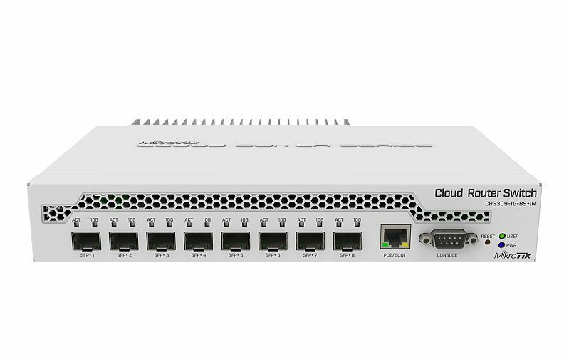 MikroTik CRS309-1G-8S+IN Cloud Router Switch 8xSFP+ 1x GLAN PoE-In, RS232, Route