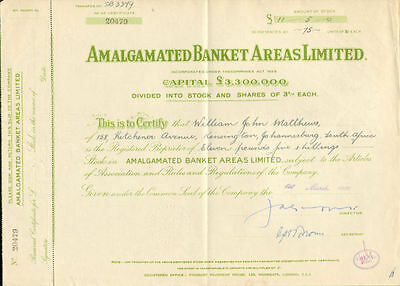 Amalgamated Banket Areas Limited   Africa mining stock certificate share