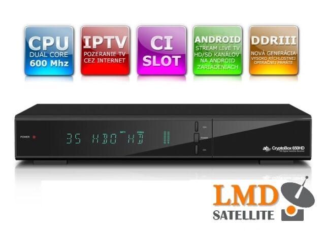 AB CryptoBox 650HD DVB-S/S2 Full HD 1080p CA CI LAN PVR 2xUSB IPTV DDRIII Memory