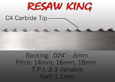 1 X 12-14-16mm Vari Tooth Pitch X 180 Resaw King Carbide Tipped Bandsaw Blade