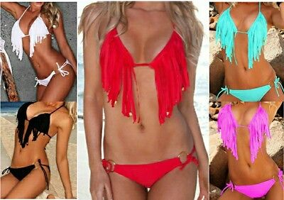 - Fringe Detail Padded Halter Top Bikini Swimsuit 2 Piece