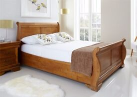 double Wooden Sleigh Bed - Oak Finish