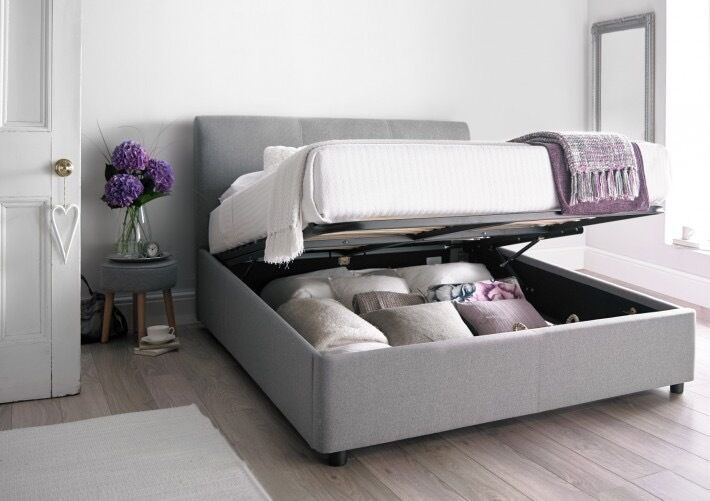 Brand new king size ottoman storage bed- upholstered cool grey - Brand New King Size Ottoman Storage Bed- Upholstered Cool Grey