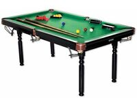 Snooker Table (Ambassador) 6.5 ft x 3.7ft with cues, 2 full set balls, brush. Good Condition