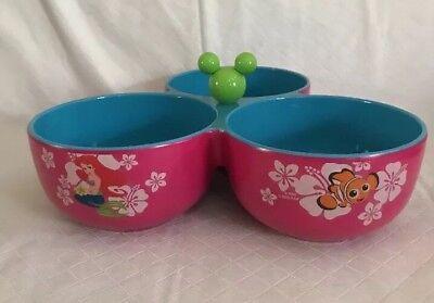 Disney Store Characters 3-Bowl Condiment Dish Nemo Tink Lilo Minnie Ariel Mickey 3 Bowl Condiment Dish