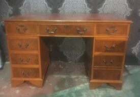 Fantastic Chesterfield Double Pedestal Captains Desk with Red Leather Top - UK Delivery