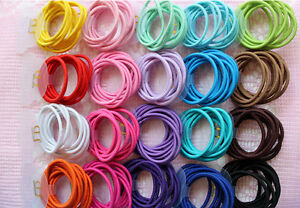100pcs Wholesale Baby Girl Kids Tiny Hair Bands Elastic Ties Ponytail Holder