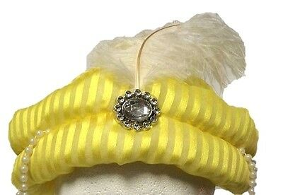 DESERT PRINCE HAT Turban Arabian Sheik Adult Genie Swami Karnak Cap Feather Ruby