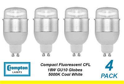 Gu10 Fluorescent Bulbs - 4 x 18W GU10 Compact Fluorescent Lamps / Globes / Bulbs 5000K Cool White CFL