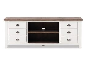 Shabby chic solid wood TV entertainment unit