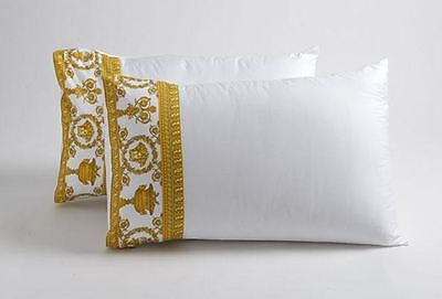 Versace Baroque Medusa Queen Size Bed Sheet Set 4 pieces White