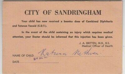 City of Sandringham Victoria 1966 children's immunization card Katina Methven