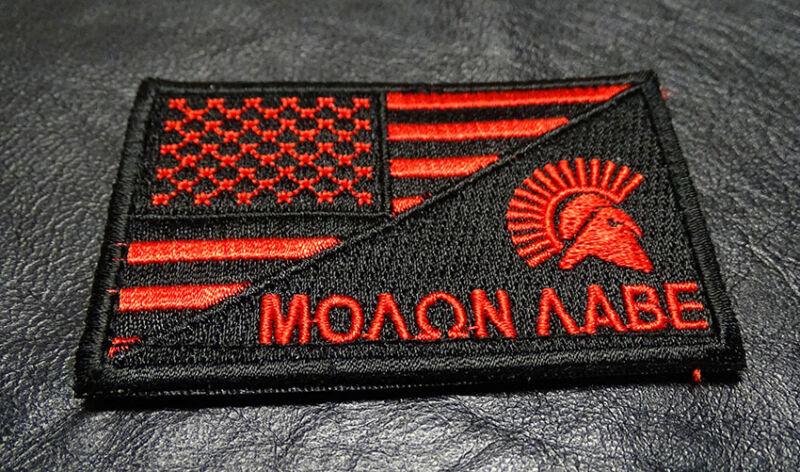 MOLON LABE SPARTAN USA FLAG HOOK PATCH