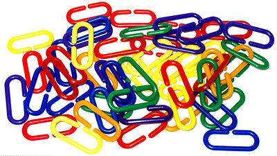 50 pc Plastic C Clips Hooks Chain Links Sugar Glider Rat Parrot Bird Toy Parts