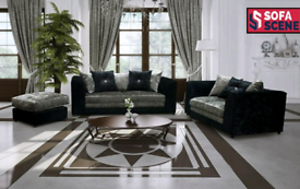 Bella 3 + 2 Seater Crushed Black And Silver Sofa available