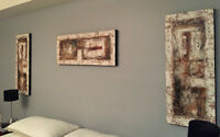 3 Large Scale Paintings - Earthtones