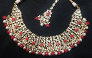 Red and Gold Bridal and Non Bridal Set with Jhumki and Tikka