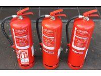 4 x 9 liter Identical Fire Pressured Water Fire Extinguishers BS5423 Standard Work Pressure 11 Bar