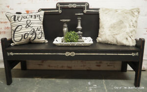 Rustic solid wood entry bench
