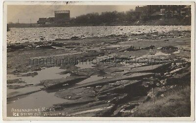 Assinaboine River, Ice Going Out, Winnipeg, Canada RP Postcard B778