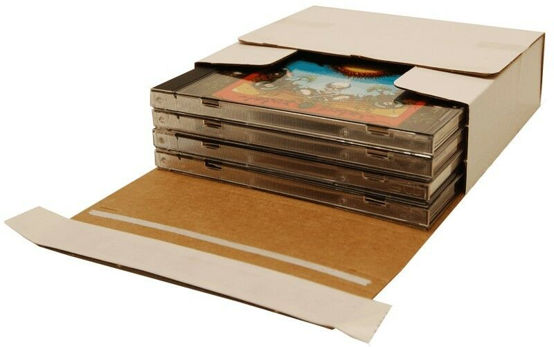 (10) CDBC04VDSS Cardboard CD Boxes Mailers Sturdy Self Sealing Holds 1-4 CDs